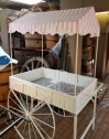 White Flower Cart 1 or 2 with Pink Canopy