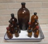 Brown Medicine Bottles in Enamel Tray